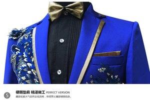 Image 5 - שלוש חתיכות להגדיר חליפות גברים של זמרים לבצע שלב להראות פאייטים רקום פרח אדום כחול ורוד חתונה חליפת תלבושות Homme