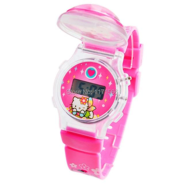 New Fashion Trend Hot Sale hello kitty Children's cartoon watch for Kid Christmas present silicone wristwatch digital watch Gift