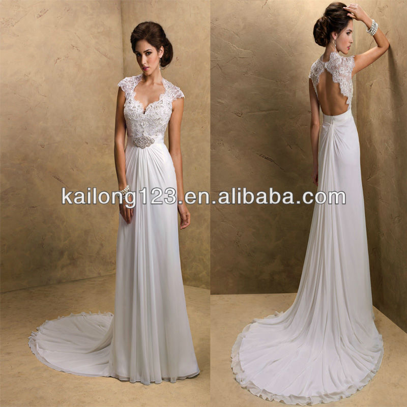 Brand new sweetheart cap sleeves sheath open back chapel for Flowy wedding dress with sleeves