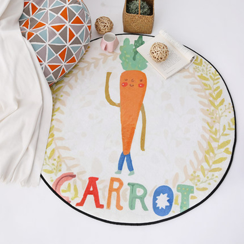 Vegetables Cartoon Carrot Print Round Carpets Child Living Room Cute Carpet Kids Room Decor Chair Rug Home Entrance/Rugs/Doormat