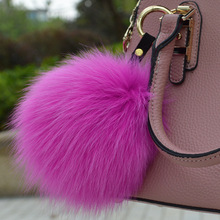Luxury 15cm Fluffy Fox Fur Ball Keychain Real Fur Pom pom Key Chain Pompom Keyring Charm Girl Women Bag Pendant Accessories Dec