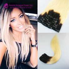 Full set 1B 613 Blonde Ombre 100 Human Hair Clip in Extensions Two Tone Balayage 7Pcs Blonde Clip Hair Extensions Full Head