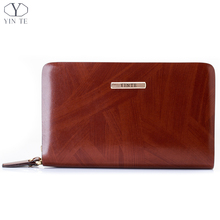 Fashion Men's Wallet Genuine Leater England Style Brown Clutch Bag Card Wallet Phone Purse Leather Wallet Men T10363
