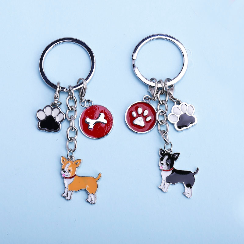2018 DIY Lobster Clasp Pendant Women Jewelry Chihuahua Dog Key Chain Key Ring Pom Gift For Best Friend Bag Charm Animal Keychain