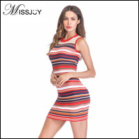 MISSJOY-Women-Fashion-Sleeveless-O-Neck-Short-Mini-Knitted-Colorful-Striped-Bodycon-sexy-dresses-party-night