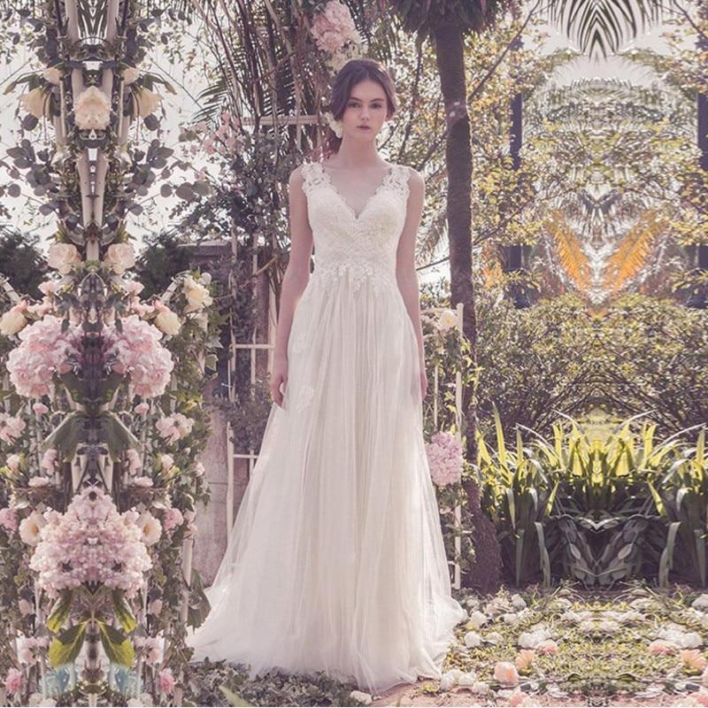 Eightale Elegant Wedding Dress Boho Appliques Lace V-Neck Wedding Gown Custom Made Tulle Boho Bridal Dresses Abito Da Sposa