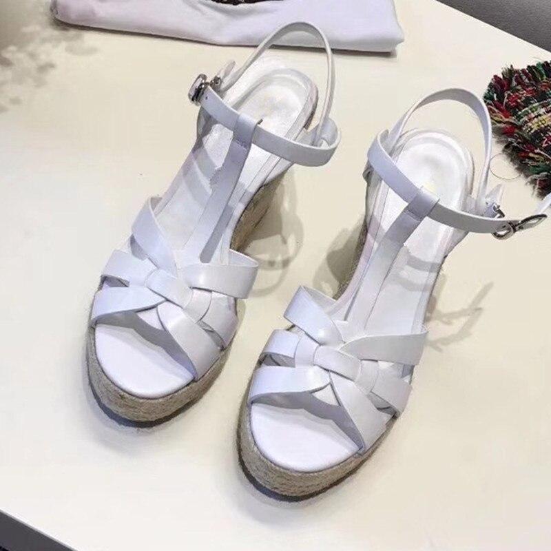 Knsvvli más nuevo de cuero negro plataforma Sandalias verano mujeres T Correa cuña inferior grueso zapatos de tacones altos Sandalias Mujer-in Sandalias de mujer from zapatos    2