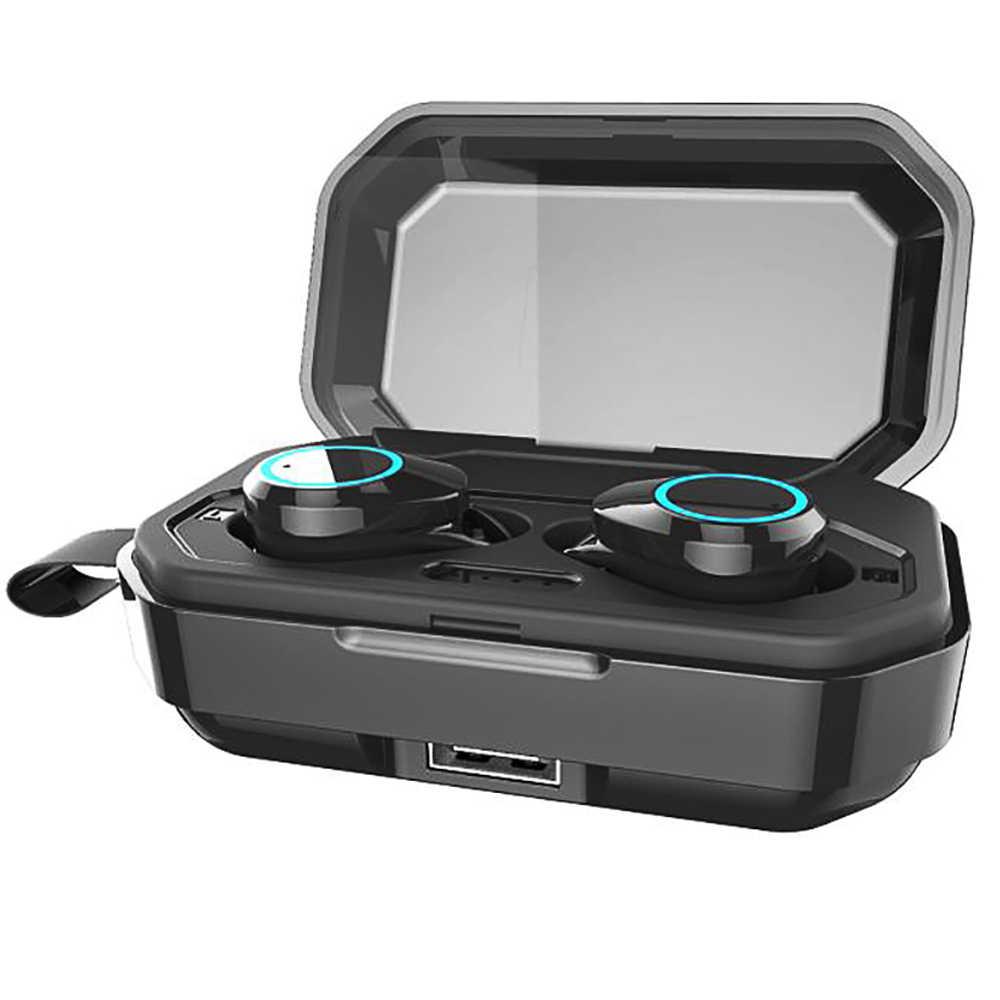 QCR TWS słuchawki bezprzewodowe Bluetooth 5.0 słuchawki IPX7 wodoodporne słuchawki odcisk palca Touch słuchawki 3000 mAh etui z funkcją ładowania