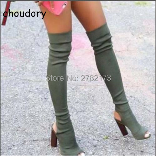 Women Stretch Suede Leather Knit Slim Thigh High Boots Sexy Fashion Over the Knee Boots High Heels Woman Shoes Peep Toe Pumps