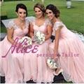 2015 ElegantL Apliques de encaje Con Cuentas Cap Mangas Pink Gasa Largo Vestido de 2015 Nuevo Partido Prom Vestidos de dama de Honor Vestidos