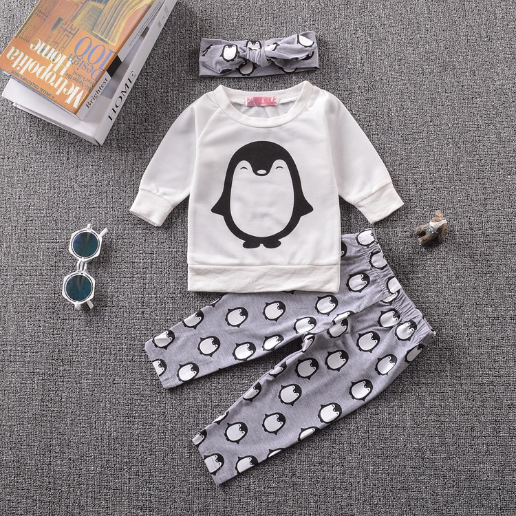2017-New-Baby-Girl-Clothing-Sets-Baby-Girl-Clothes-Cotton-Penguin-Long-Sleeves-T-shirtPantsHeadband-Infant-Clothes-3PCS-Suit-1