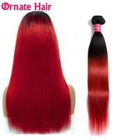 Pre Colored Malaysia Straight Hair Ombre Human Hair Weave 3 Bundles Ornate Hair Non Remy Extensions 1b red 12 24inch