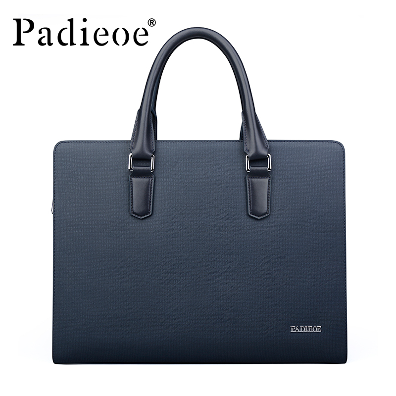 Padieoe New Arrival Mens Classic Split Leather Briefcase Business High Quality Tote Bag 14-inch Laptop Bag For Male  NB161143-1Padieoe New Arrival Mens Classic Split Leather Briefcase Business High Quality Tote Bag 14-inch Laptop Bag For Male  NB161143-1