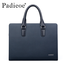 Padieoe New Arrival Men's Classic Split Leather Briefcase Business High Quality Tote Bag 14-inch Laptop Bag For Male NB161143-1