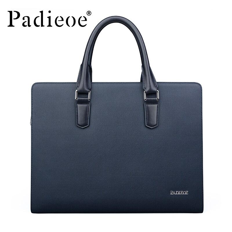 Padieoe Новое поступление Для мужчин Классические Разделение кожа Портфели Бизнес Высококачественная сумка торба для 14 дюймового ноутбука для мужчин NB161143 1