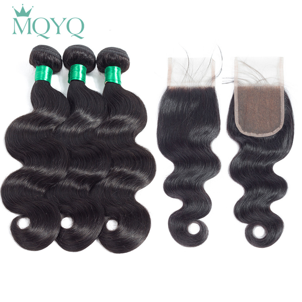 MQYQ Hair Body Wave Brazilian Hair Weave 3 Bundles With Closure Free Part 100% Non Remy Human Hair Bundles with Lace Closure