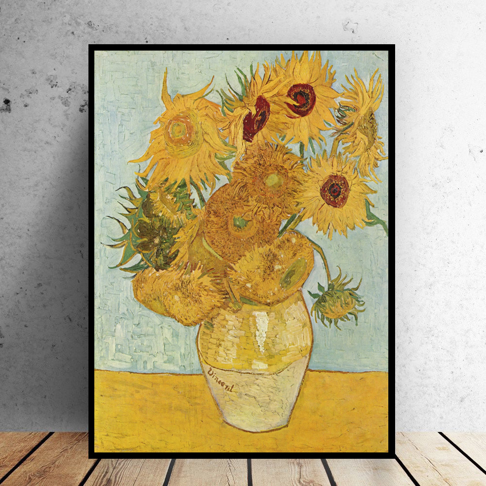 wall Picture oil painting vincent van gogh vase with twelve sunflowers impressionist painter print wall painting No Framed