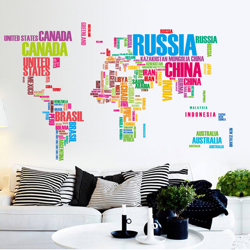 Colorful world map wall sticker for (end 8/17/2019 4:59 PM)