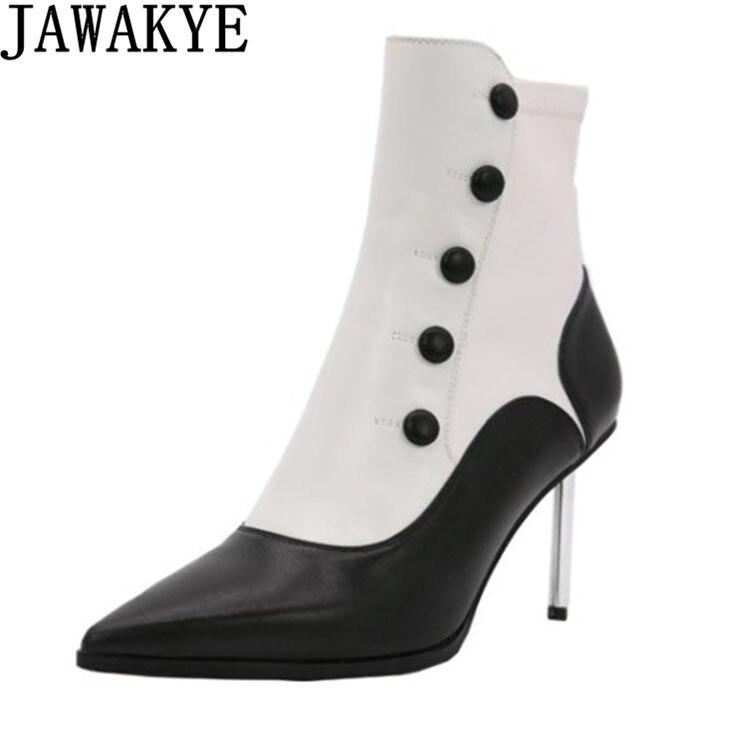 Élégant blanc noir Stiletto métal à talons hauts en cuir bottes bouton embellilhangar bout pointu cheville Botas formelle robe chaussures femmes