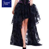 Burvogue Fashion Women Sexy Skirts Lace Corset Skirt Floral Print High Low Steampunk Maxi Skirts Summer