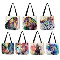 Sac à provisions exclusif de lin d'impression de cheval d'aquarelle pliant les sacs d'école de voyage réutilisables sacs à main décontractés pour des femmes