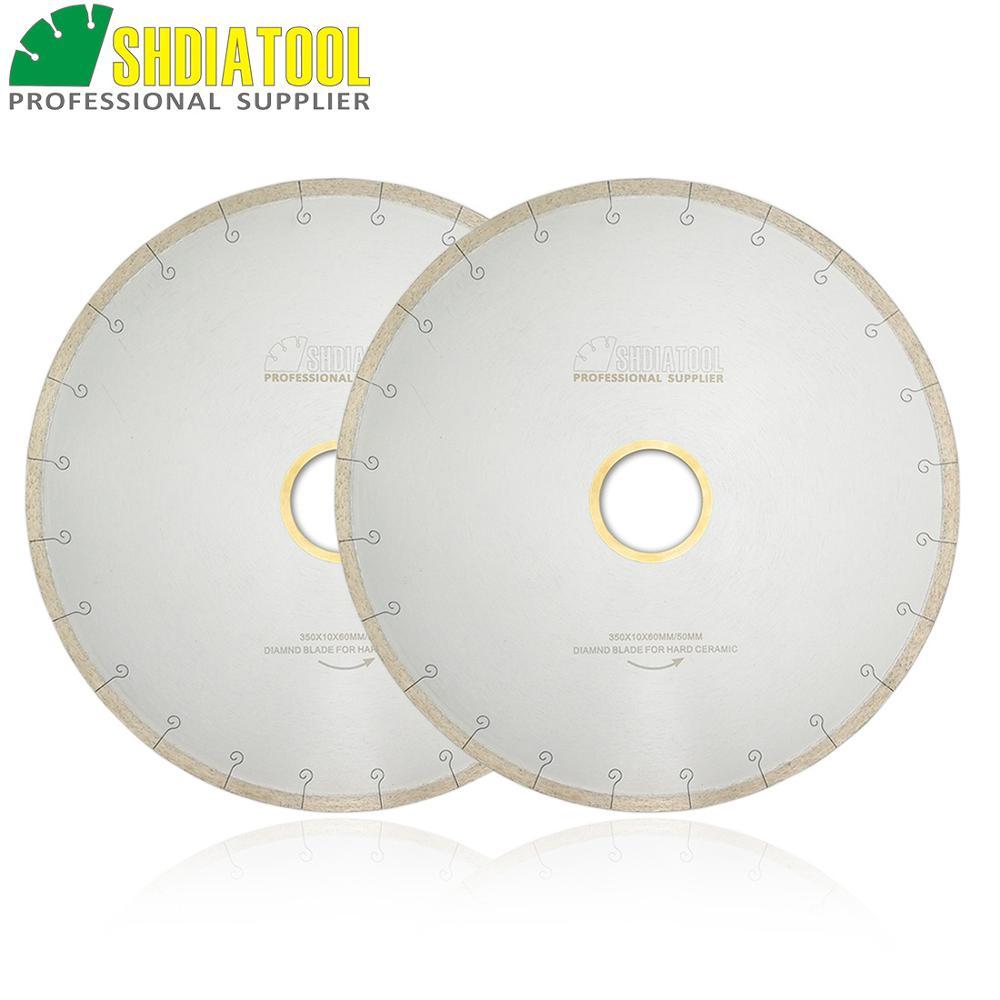 SHDIATOOL 2pcs 350MM 14 Diamond Blades Ceramic Tile Sawblade With Hook Slot Diamond Cutting Disc Bore