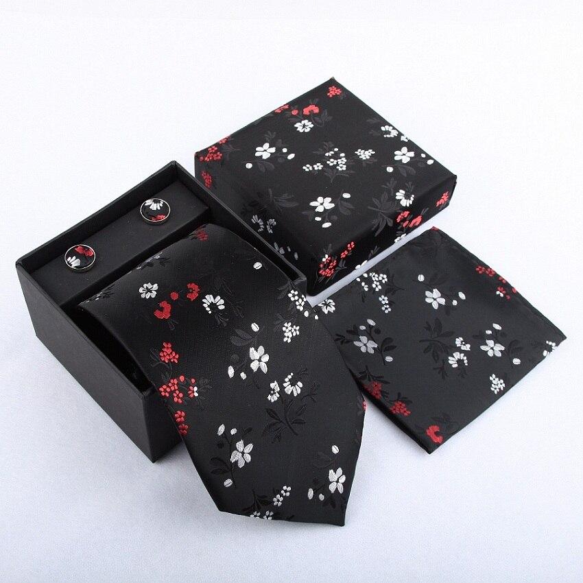 Мужская мода высокого качества набор галстуков галстуки запонки шелковые галстуки Запонки Карманный платок - Цвет: 24