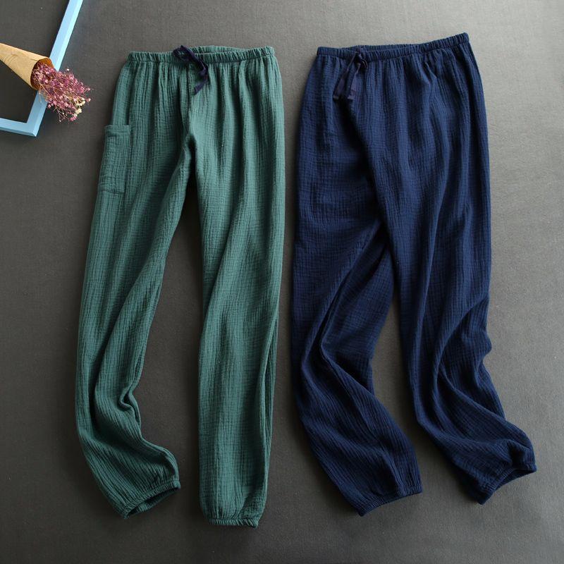 New Autumn Women Cotton Crepe Sleep Pants Solid Pajama Pants Elastic Waist Sleep Bottoms Lounge Night Pants Sleeping Sleep Wear