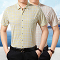 Summer new style men casual business one pocket striped short sleeve dress shirt