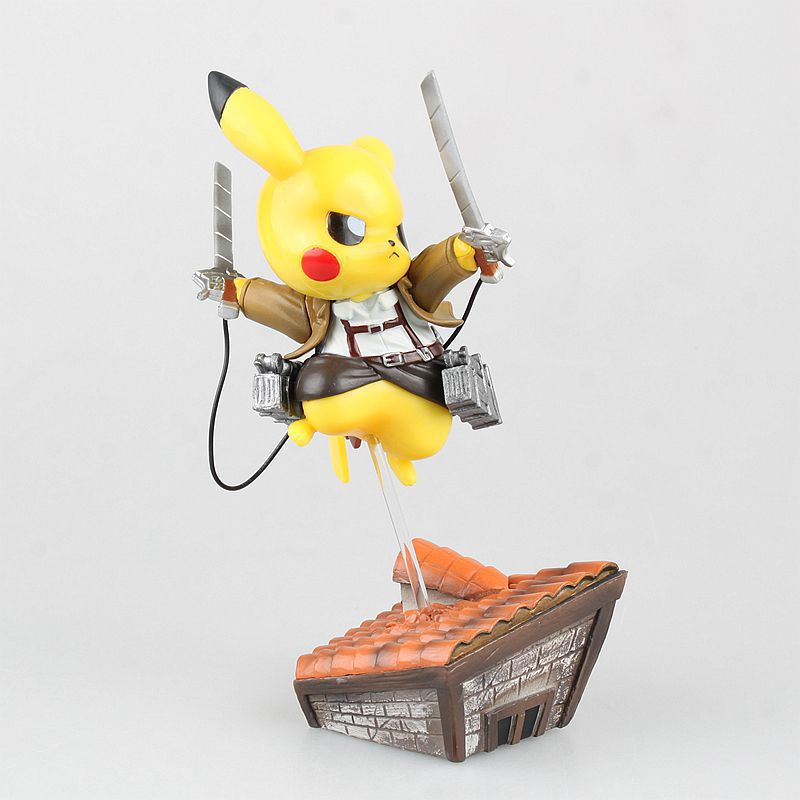 15cm Anime Pikachu Cosplay Attack on Titan PVC Action Figure Model Toy with Retail Box 28 70cm 1000% bearbrick be rbrick attack on titans action toy figure medicom toy art work great gift for friends