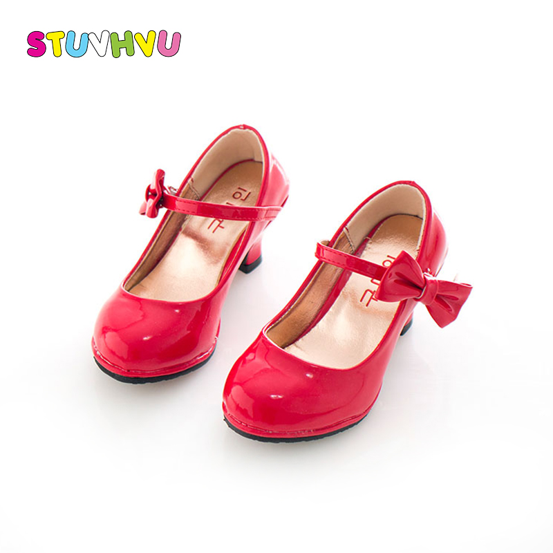 Girls princess high heels childrens party wedding leather shoes spring autumn fashion bow-tie non-slip girl red high heels kids