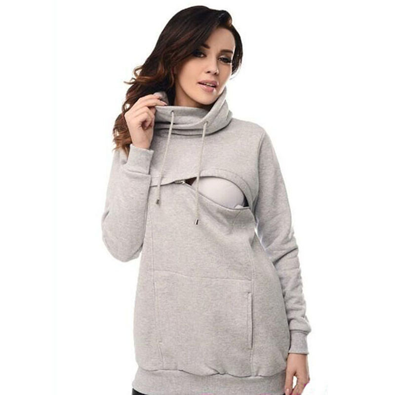 Long Sleeves Maternity Hoodies with Hat Drawstring Nursing Hoodie Sweaters Lactation Matherinity Clothes for Breastfeeding burgundy lace up design one shoulder long sleeves sweaters