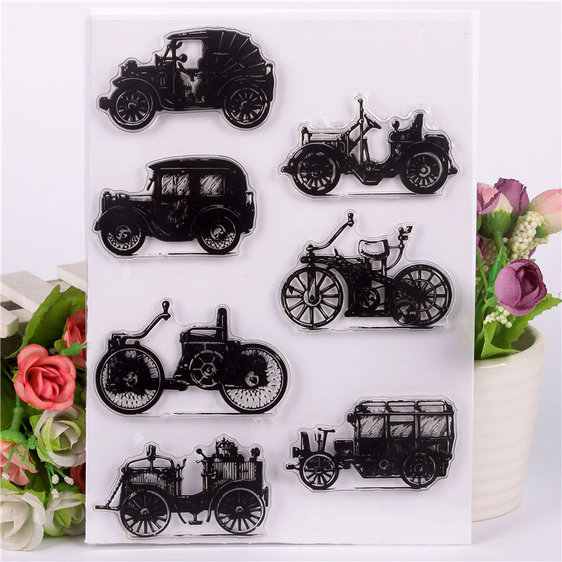 Rubber Silicone Clear Stamps for Scrapbooking Tampons Transparents Seal Background Stamp Card Making Diy Nostalgic vintage car цена и фото