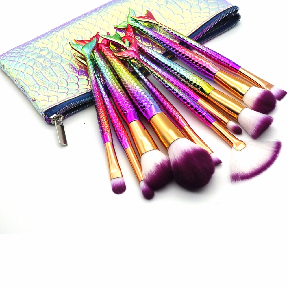 цена 10Pcs Mermaid Makeup Brush Set Fish Tail Foundation Powder Eyeshadow Make up Brushes Contour Blending Cosmetic Brushes with Case