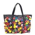 Women's Flowers Handbags 100% Genuine Leather Sheepskin Shoulder Bags Shopping Tote Fashion Beach bag sac a main femme de marque