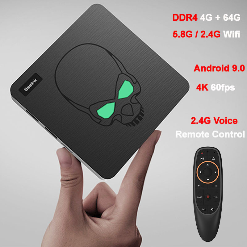 Amlogic S922X Quad Core DDR4 4 GB 64 GB TV Box Android 9.0 Mini PC intelligent 2.4G 5.8G double bande Wifi Bluetooth SPDIF Port Audio TVbox