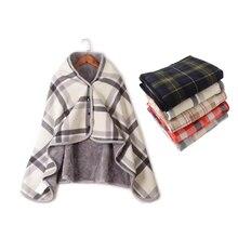 De moda de franela a cuadros + polar manta de lana caliente perezoso shaw chal  Manta con botón Inicio Oficina piernas rodilla de. 16bd8a9bb54c