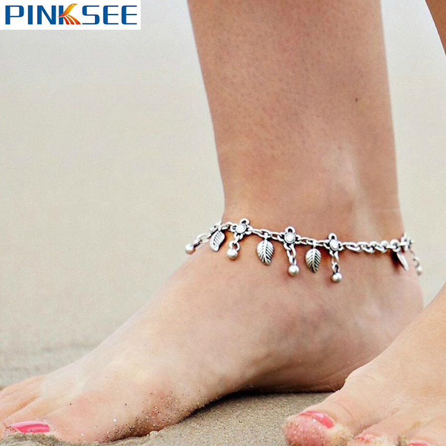 Boho Silver Plated Beads Leaf Tassel Ankle Bracelet Retro Barefoot Sandal  Beach Foot Chain Jewelry For
