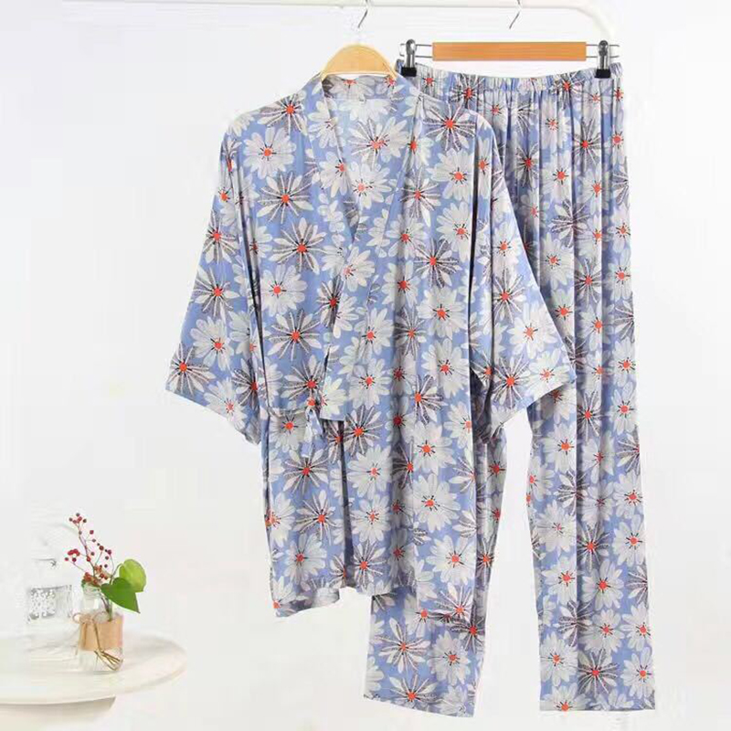 a2ad06c51a6e Japanese Cherry Cute Daisy Pajamas Set Women Kimono Suit Tracksuit Cotton  Gauze robe Top Pants Women s Home Sleepwear-in Pajama Sets from Underwear  ...