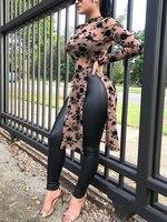 Women Stylish Applique Summer Shirts Side Split Longline Long Sleeve Blouse