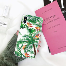 LAUGH LIFE Art Flowers Green Leaf Phone Case For iPhone XR Summer Hot Sale Fresh Plants Back Cover Cases Transparent Shell
