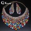 Dubai Conjuntos de Joyas de Boda cristalino de la manera plateó sistemas de la joyería conjuntos collar aretes nupcial Africana Sistemas de la Joyería de las mujeres