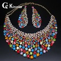 Dubai Wedding Jewelry Sets fashion crystal gold plated jewelry sets earrings necklace sets African bridal Jewelry Sets women