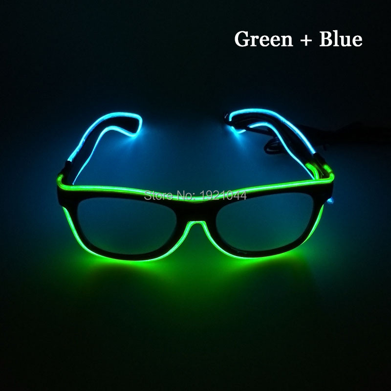 2017 Fashion Cheap 50pcs double color EL Wire Neon Light up Glasses with sound activated for Holiday Festival Decoration