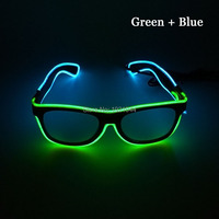 2019 Fashion Cheap 50pcs double color EL Wire Neon Light up Glasses with sound activated for Holiday Festival Decoration
