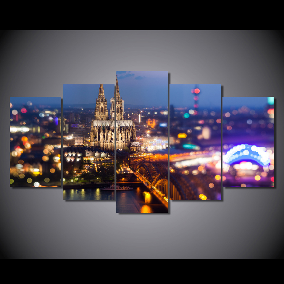 HD Printed City Lights At Night Spray Painting Canvas