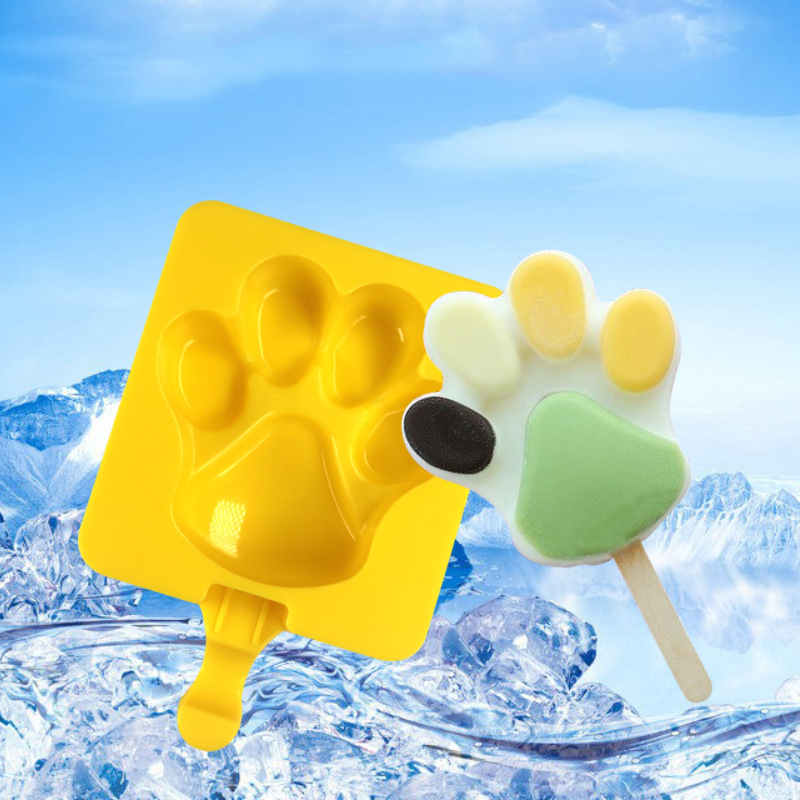 Cute Cat Claw Ice Cream Mold Popsicle Mould Food Grade Silicone Baby Cartoon Dog Claw Shape Homemade Craft Tool for Kitchen image