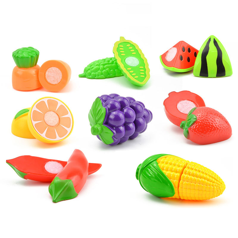 Hot Sale Plastic Kitchen Food Fruit Vegetable Cutting Kids Pretend Play Educational Toy Safety Children Kitchen Toys Sets ...
