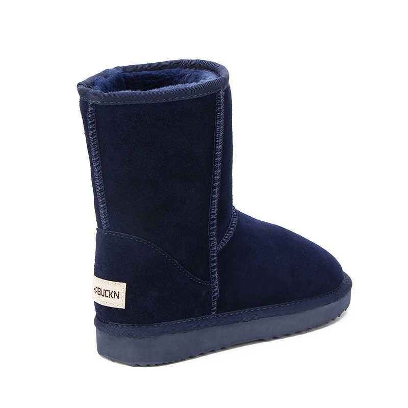 HABUCKN אוסטרלי מכירה לוהטת 100% אמיתי עור אופנה בנות חורף שלג מגפי נשים החורף חם נעלי משלוח חינם