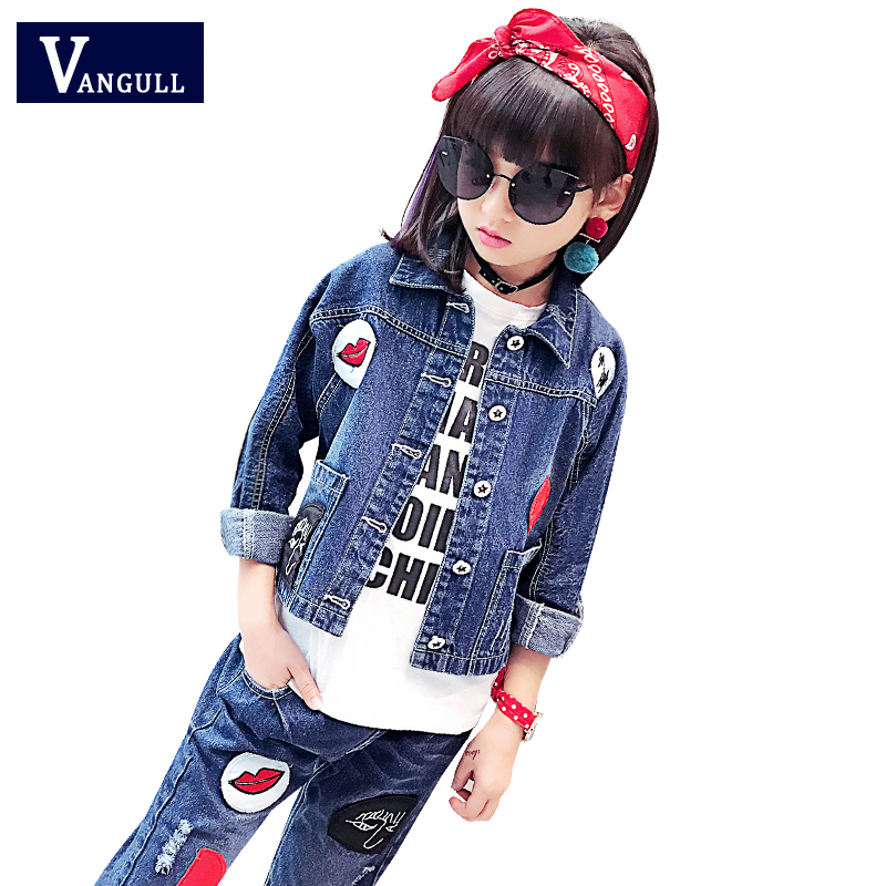 2017 autumn children's jeans set, hot red cloth, printed red lips jacket + broken jeans, 3-11 year old girl, two sets longoni fancy hot lips 4